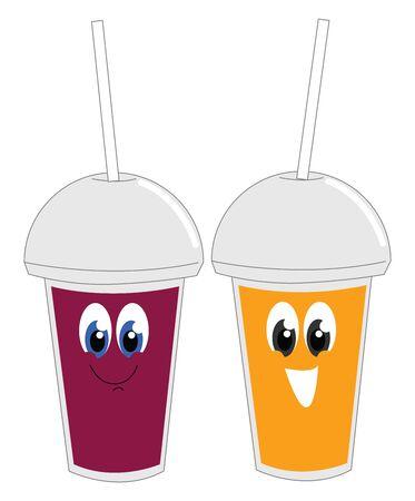 Smiling juices, illustration, vector on white background. Çizim