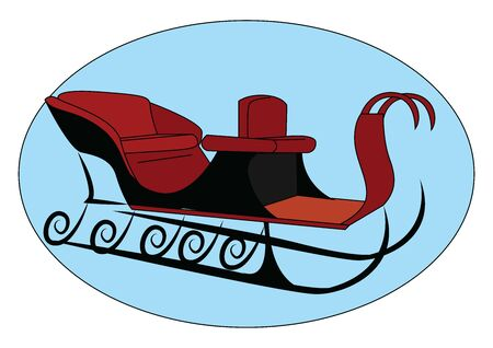 Snow sleigh, illustration, vector on white background. 向量圖像
