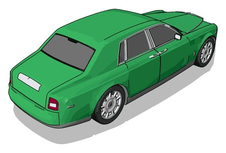 Green car, illustration, vector on white background.