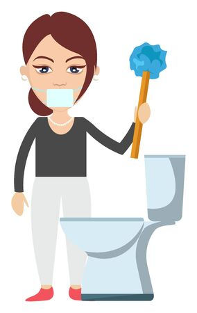 Woman cleaning toilet, illustration, vector on white background. Illustration