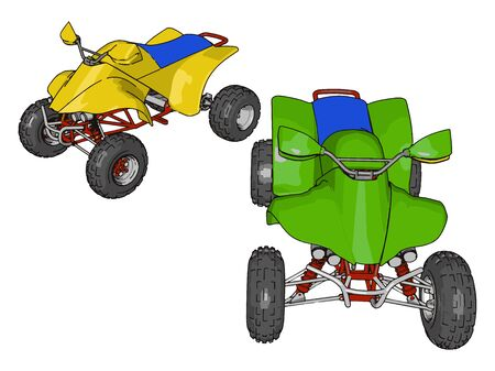 Green and yellow quad bike, illustration, vector on white background. Illustration