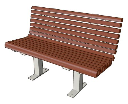 Brown bench, illustration, vector on white background.