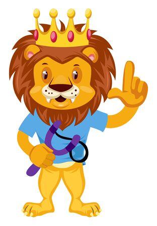 Lion with sling shot, illustration, vector on white background.
