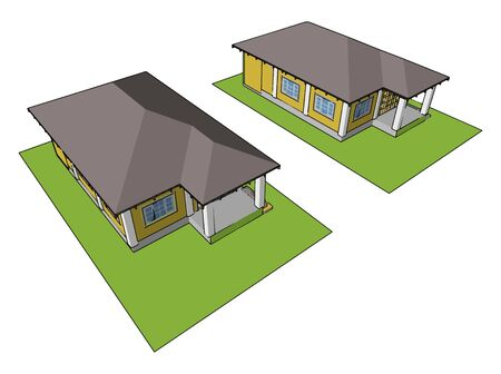 American house, illustration, vector on white background.