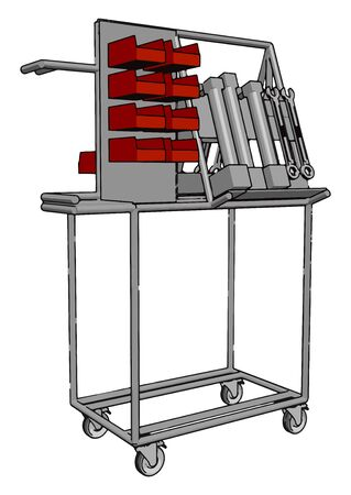 Carts with tools, illustration, vector on white background. Illustration