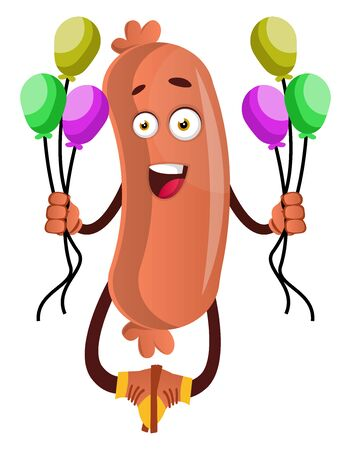 Sausage with balloons, illustration, vector on white background.