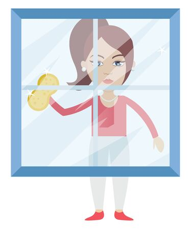 Woman cleaning glass, illustration, vector on white background.