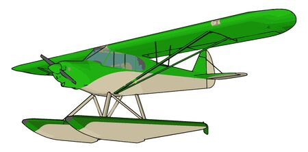 Green seaplane, illustration, vector on white background. 矢量图像