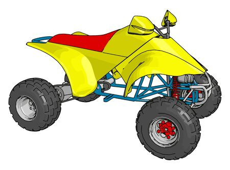Yellow quad bike, illustration, vector on white background.