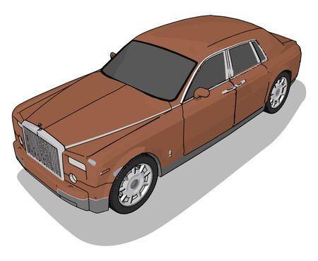 Brown car, illustration, vector on white background.