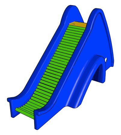 Blue escalator, illustration, vector on white background.