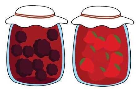 Jam jars, illustration, vector on white background.