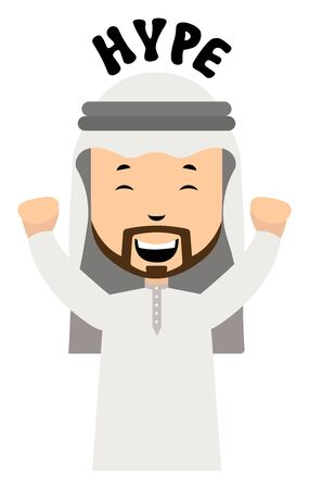 Arab is hyped, illustration, vector on white background.