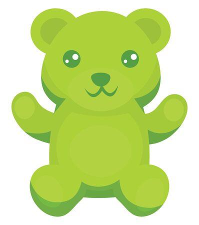Green gummy bear, illustration, vector on white background.