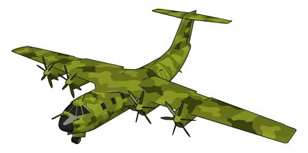 Big old green bomber, illustration, vector on white background.