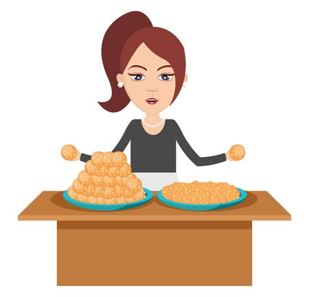 Woman making food, illustration, vector on white background.