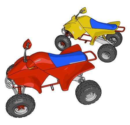 Red and yellow quad bike, illustration, vector on white background. 일러스트