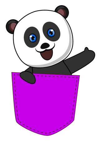 Panda in purple pocket, illustration, vector on white background.