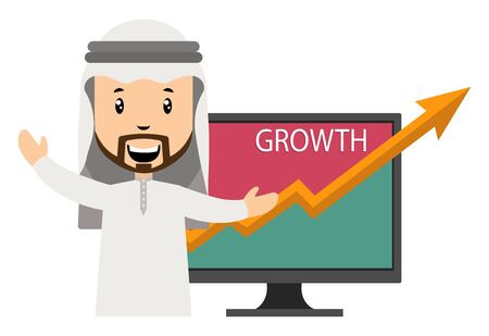 Arab with growth, illustration, vector on white background.