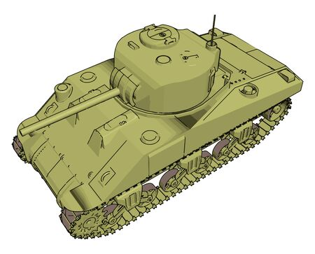 Green military tank, illustration, vector on white background.