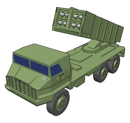 Anti-aircraft defense, illustration, vector on white background.