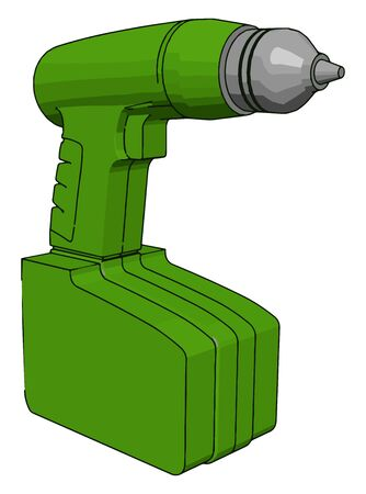 Green drill, illustration, vector on white background.