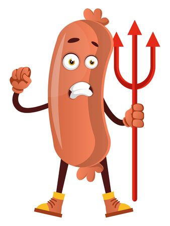 Sausage with devil spear, illustration, vector on white background. Stock Illustratie