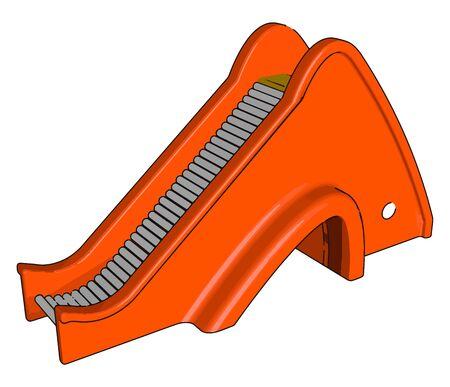 Red escalator, illustration, vector on white background.