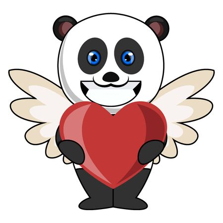 Panda with heart, illustration, vector on white background.