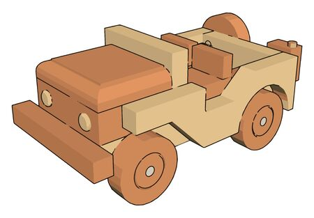 Jeep toy, illustration, vector on white background.