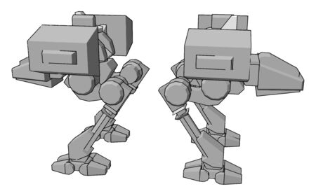 Big silver robot, illustration, vector on white background.