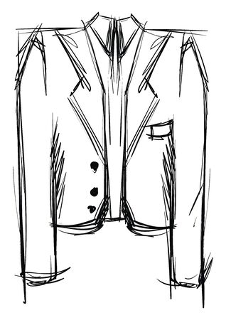 Suit drawing, illustration, vector on white background. Illustration