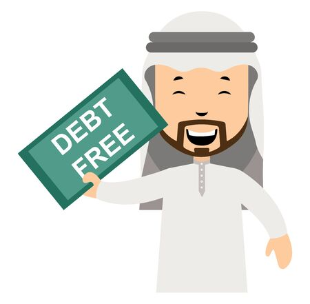 Arab is debt free, illustration, vector on white background.