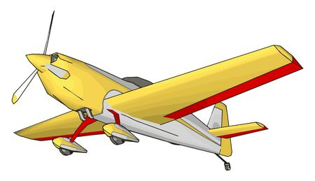 Yellow plane, illustration, vector on white background.