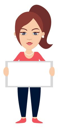 Woman holding mirror, illustration, vector on white background. 写真素材 - 132796757