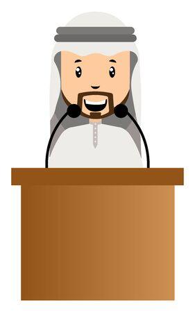 Arab holding speech, illustration, vector on white background.
