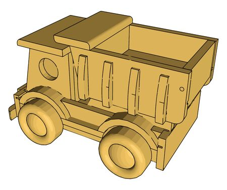 Garbage truck toy, illustration, vector on white background. Illustration