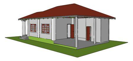 Prefabricated house, illustration, vector on white background.