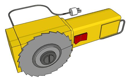 Yellow electric saw, illustration, vector on white background. Çizim