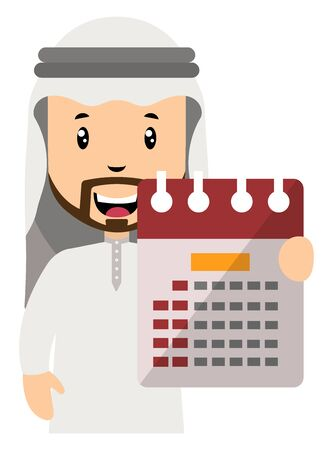 Arab with calendar, illustration, vector on white background.