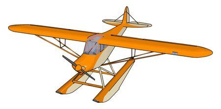 Orange seaplane, illustration, vector on white background.