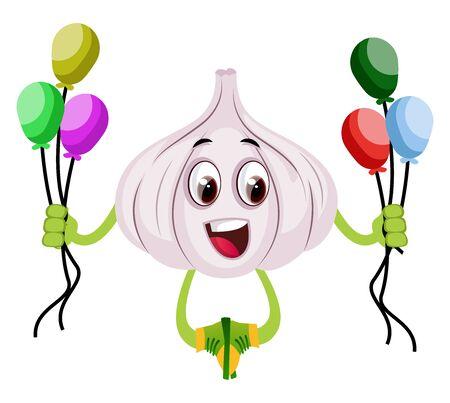 Garlic with balloons, illustration, vector on white background. Illustration