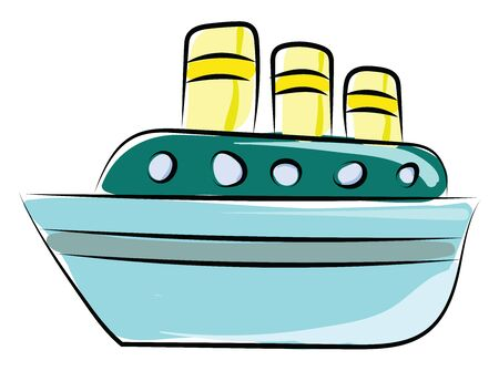 Ship on sea, illustration, vector on white background. Banque d'images - 132796788