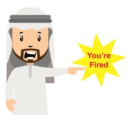 Arab fired people, illustration, vector on white background. Illustration