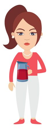 Woman with thermos, illustration, vector on white background. 일러스트