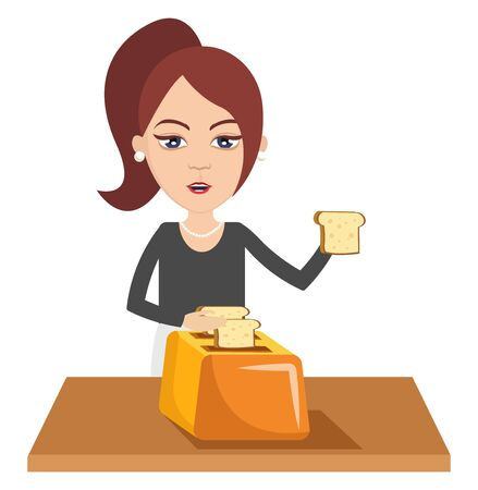 Woman making toast, illustration, vector on white background.  イラスト・ベクター素材