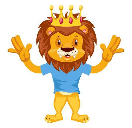 Erschrockener Löwe, Illustration, Vektor auf weißem Hintergrund.