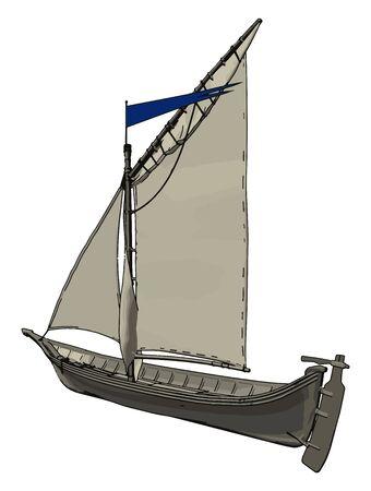 Small white ship, illustration, vector on white background.