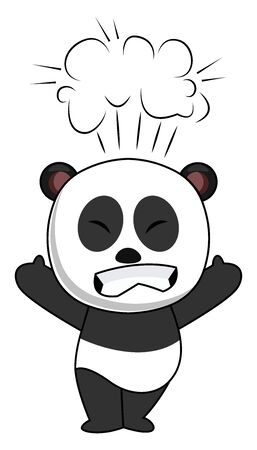 Pissed off panda, illustration, vector on white background.