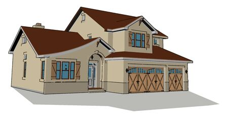 Big nice house, illustration, vector on white background.